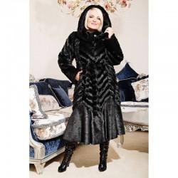 Модная меховая шуба ВАЛЕНТИНА под норку, черная