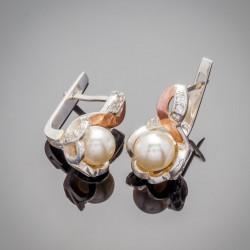Серебряные сережки с жемчугом МАК