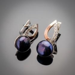 Серьги с жемчугом Лотос - серебро 925 пробы