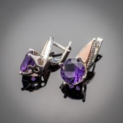 Серьги Лада - серебро, золото, цирконий, фиолетовые