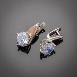 Серьги Лада - серебро, золото, цирконий
