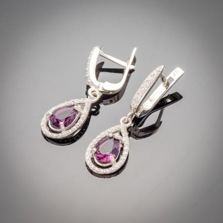 Серебряные сережки Катюша (малиновый)