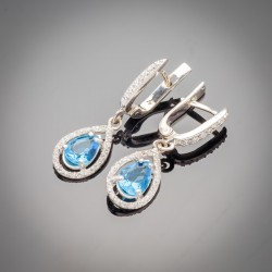 Серебряные сережки Катюша (голубой)