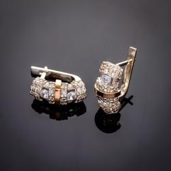 Успех - женские серьги из серебра с золотом
