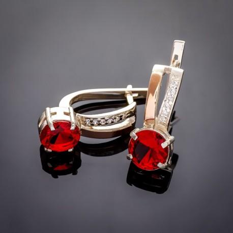 Красивые серьги Мария с цирконием, (красный)