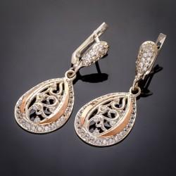 Удлиненные серебряные серьги Шарм с подвеской