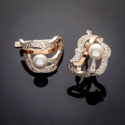Надежда - женские серьги из серебра с золотом и жемчугом