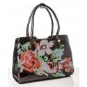 Шикарная черная женская сумка Bonilarti с вышивкой, кожзам