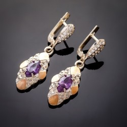 Красивые серебряные серьги Маркиз (аметист)