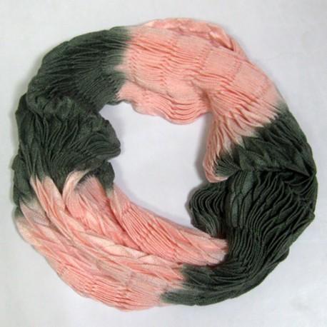 Двухцветный шарф-хомут (розовый)