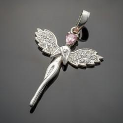 Серебряный подвес Мираж (розовый)
