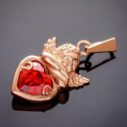 Серебряный кулон Купидон (красный)