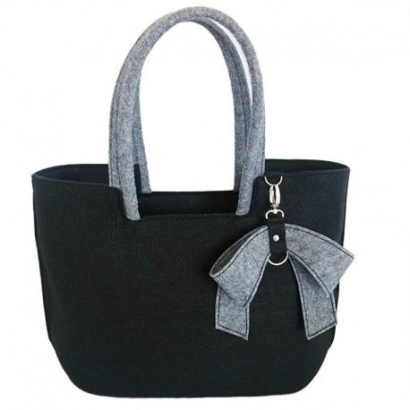 Сумка-корзинка из войлока черная с бантом