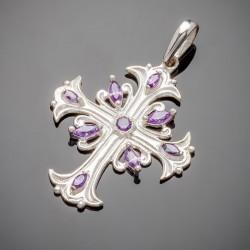 Необычный серебряный крест c фианитом