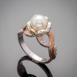 Серебряное кольцо Мак с жемчужиной