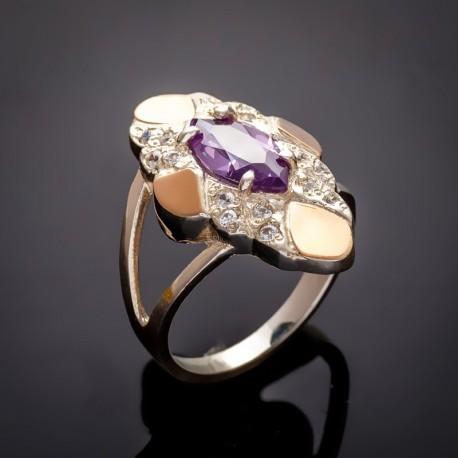 Маркиз - женское серебряное кольцо (аметист)
