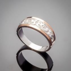 Серебряное кольцо Кира с золотыми напайками