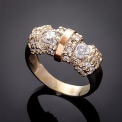 Необычное серебряное кольцо Успех - золото и цирконий