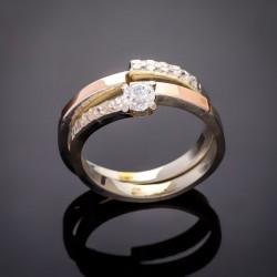Серебряное кольцо Дуэт со вставками из фианита