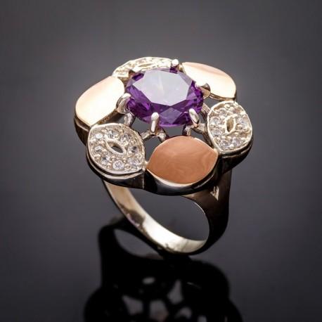 Кольцо Жасмин в виде цветка (аметист)