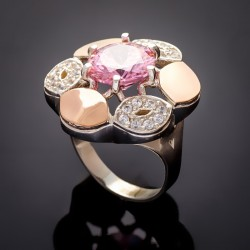 Кольцо Жасмин в виде цветка (розовый)