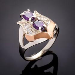 Серебряный перстень Весна с золотом и цирконом