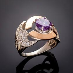 Серебряное кольцо Аида с золотыми напайками и цирконием