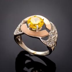 Серебряное кольцо Аида (желтый)