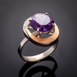 Серебряное кольцо Мечта со вставками из золота и циркония