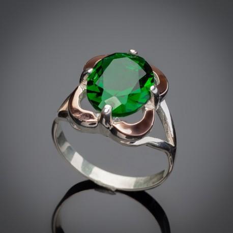 Женское серебряное кольцо Диана (зеленый)