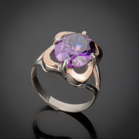 Женское серебряное кольцо Диана (аметист)