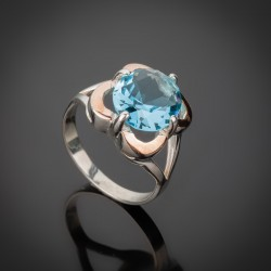 Женское серебряное кольцо Диана (голубой)