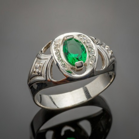 Серебряное кольцо Индира (зеленый)