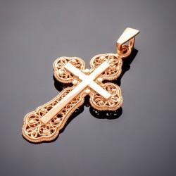 Позолоченный крестик с ажурным узором
