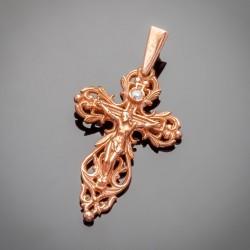 Позолоченный крест с распятием, фианит