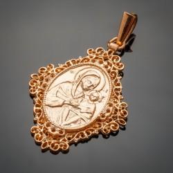 Серебряная ладанка с Божей Матерью, позолота