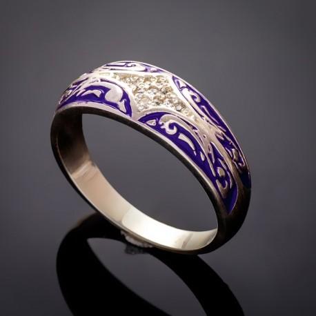 Серебряное кольцо с эмалью Мозаика