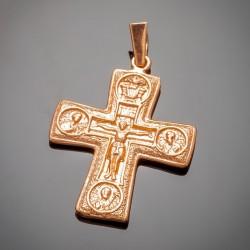 Крест с ликами святых, позолота