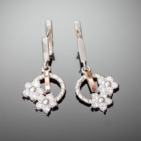 Серебряные серьги Фиалка (белый)