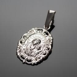 Серебряная иконка с Божей Матерью и молитвой
