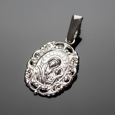 Серебряная иконка с Божей Матерью