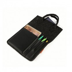 Удобная сумка-планшетка из войлока с карманом из эко-кожи