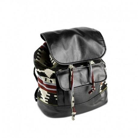 Стильный молодежный рюкзак, гобелен+эко-кожа (черный)
