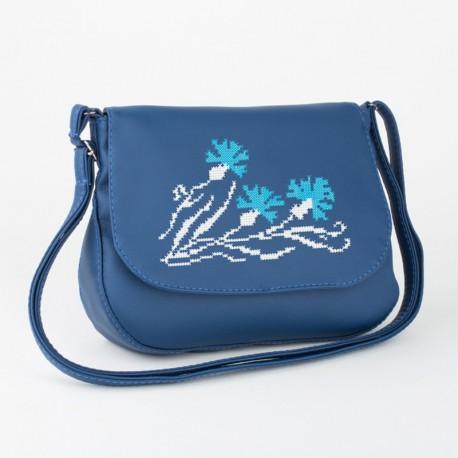 Почтальйонка с вышивкой ВАСИЛЬКИ (синяя)