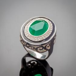 Серебряное кольцо Земфира в виде печатки, с эмалью