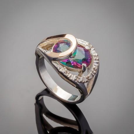 Серебряное кольцо Орхидея (хамелеон)
