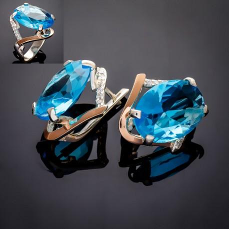 Серебряный набор Лилия (голубой)
