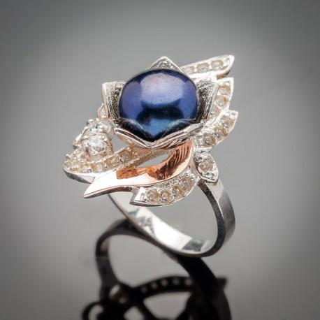 Серебряное кольцо Юнона (черный)