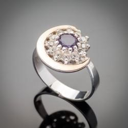Серебряное кольцо Талисман со вставками из золота и фианита