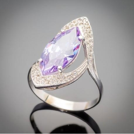 Слеза - серебряное кольцо с фианитом